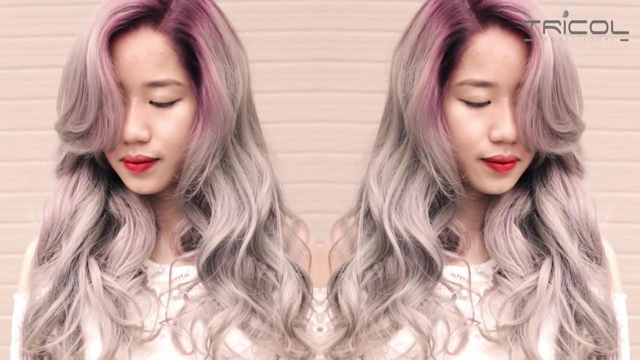 Màu nhuộm tóc đẹp 2019 - Ombre khói tím - YouTube