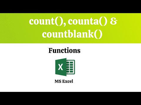 Count Counta And Countblank Functions MS Excel