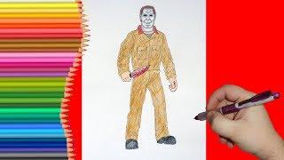 How to draw Michael Myers, Как нарисовать Майкла Майерса
