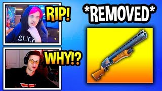 "Streamers React To ""PUMP SHOTGUN"" *REMOVED* From Fortnite! *RIP* (Fortnite Moments)"