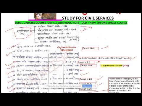 दरोगा भर्ती -UP SI Exam     प्रमुख कानून    IMPORTANT LAWS ACTS -YEARS DATES - GK FOR UP SI EXAM