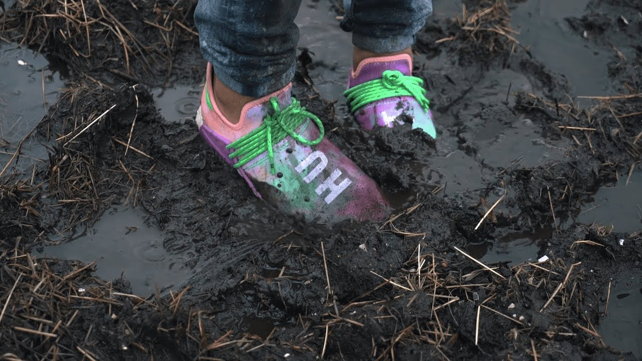 f5ad4eb25 Jumping in mud with UNRELEASED adidas Human Race NMD Pharrell  Holi ...