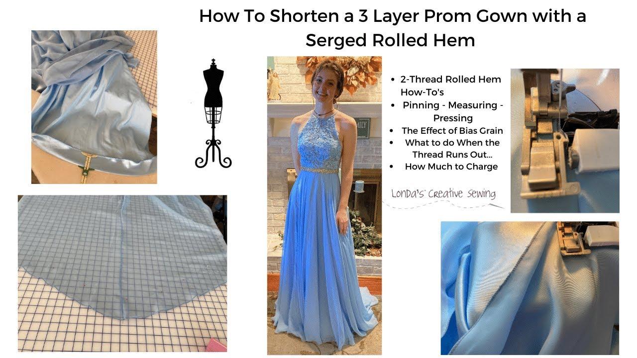 How To Shorten a 3 Layer Skirt Using 2 Thread Rolled Hem on Serger