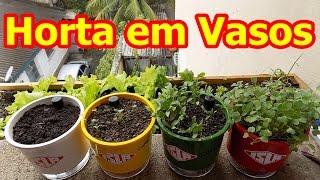 Como Fazer Horta em Vasos auto-irrigável