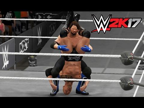 WWE 2K17 - AJ Styles Versus The Rock [Last Man Standing] - PS4