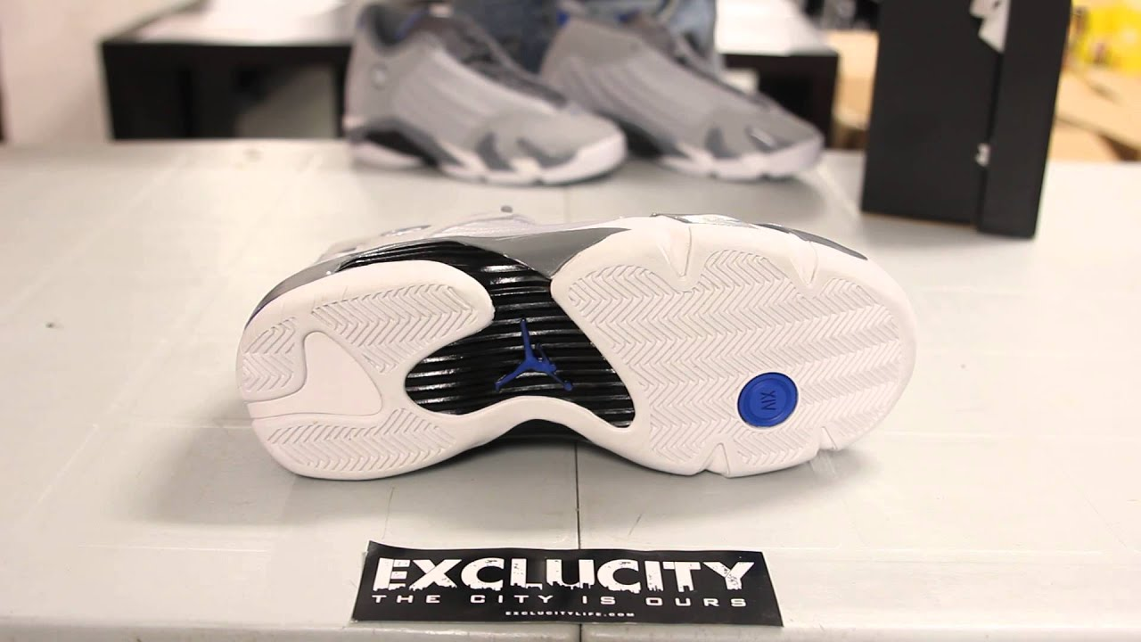 "Air Jordan 14 ""Sport Blue"" Wolf Grey White-Sport Blue - Unboxing Video    Exclucity - YouTube b503470bd"