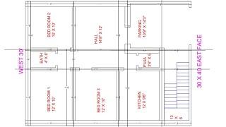 30 × 40 3bhk village plan centre line diagram