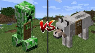 Minecraft CREEPER HOUSE VS WOLF HOUSE MOD / SPAWN INSTANT MOB HOUSES AND LIVE IN THEM !! Minecraft