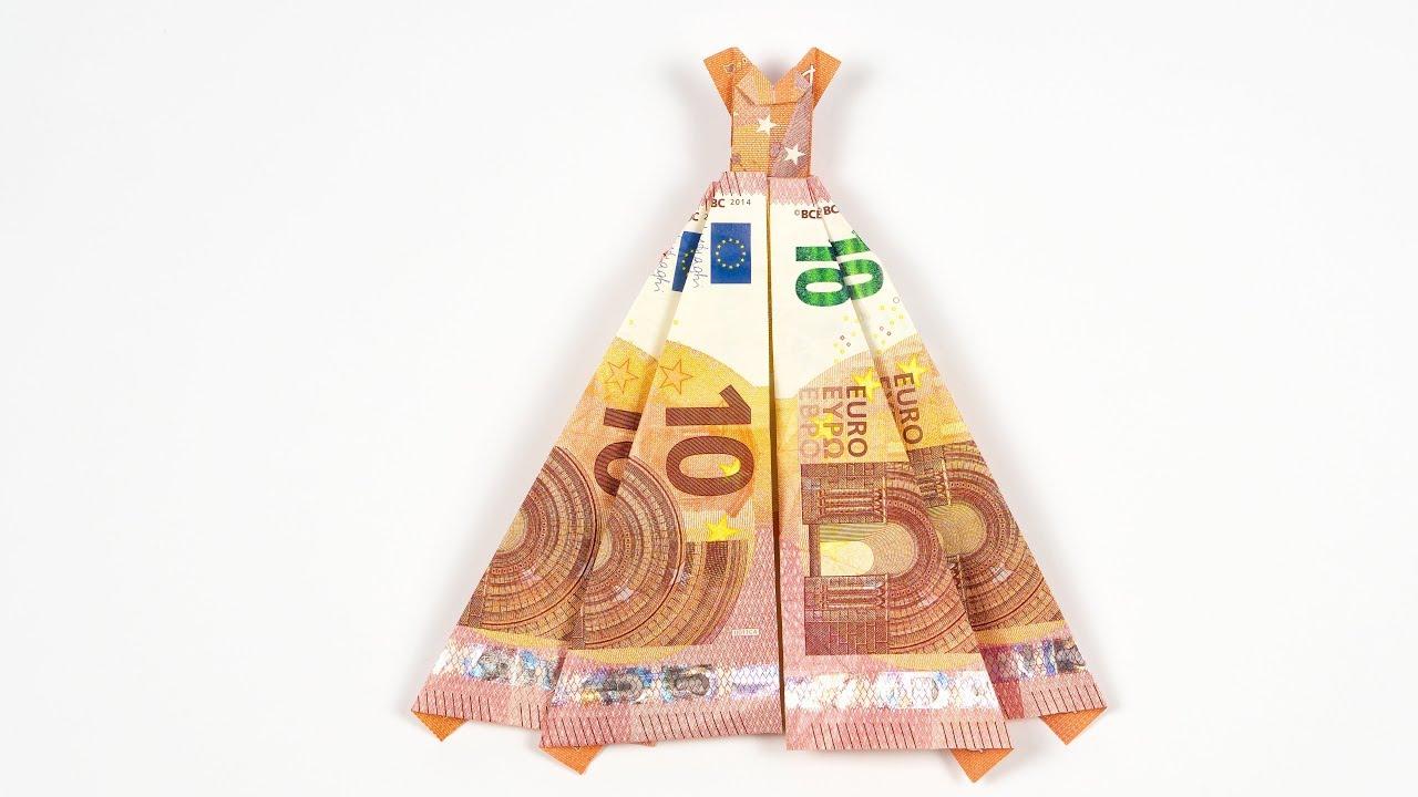 Geld Falten Kleid Hochzeitsgeschenk Aus Geldschein Selber Basteln