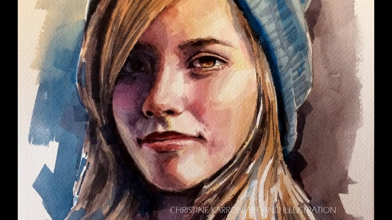 Speed painting watercolor portrait blue hat by ch karron youtube