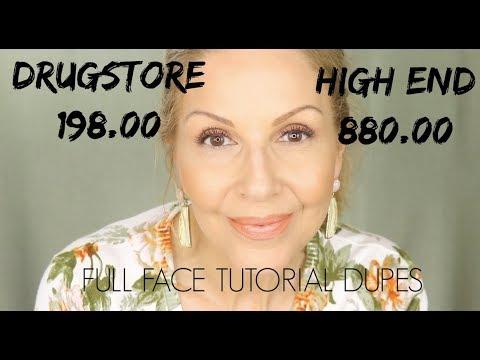 DRUGSTORE VS HIGH END | DUPES | Full Face Tutorial thumbnail