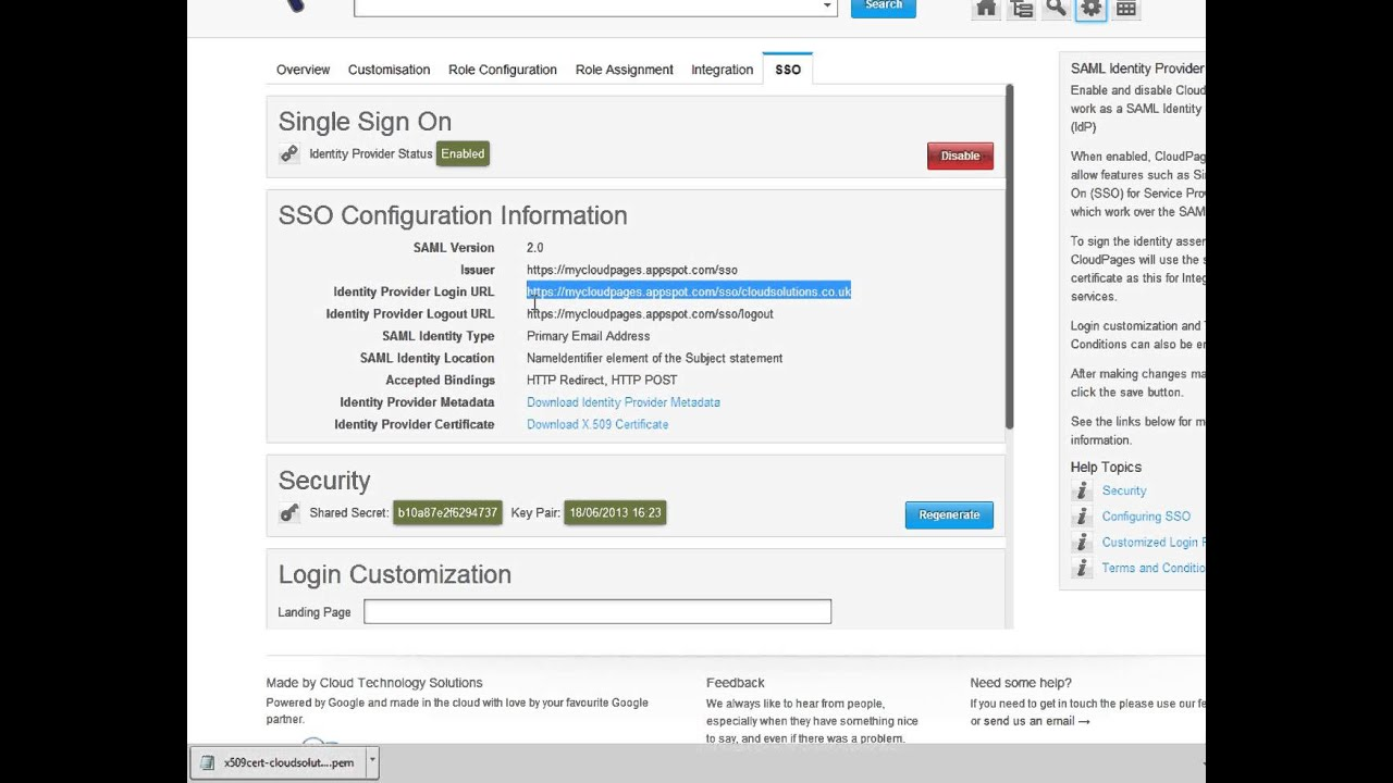 CloudPages - WhitePages for Google Apps - SalesForce Single Sign On (SSO)  setup