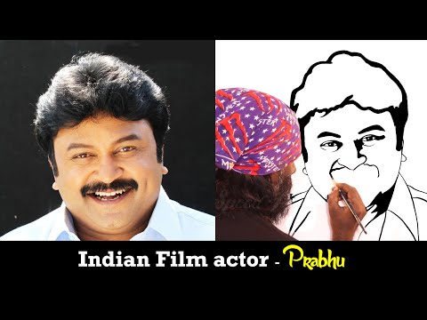 How to Draw Indian film actor Prabhu - Udhaya Speed Painting