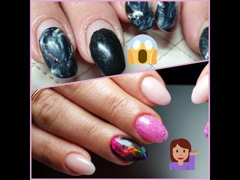 Refill gel nails, hard manicure cuticle clean and smoke effect