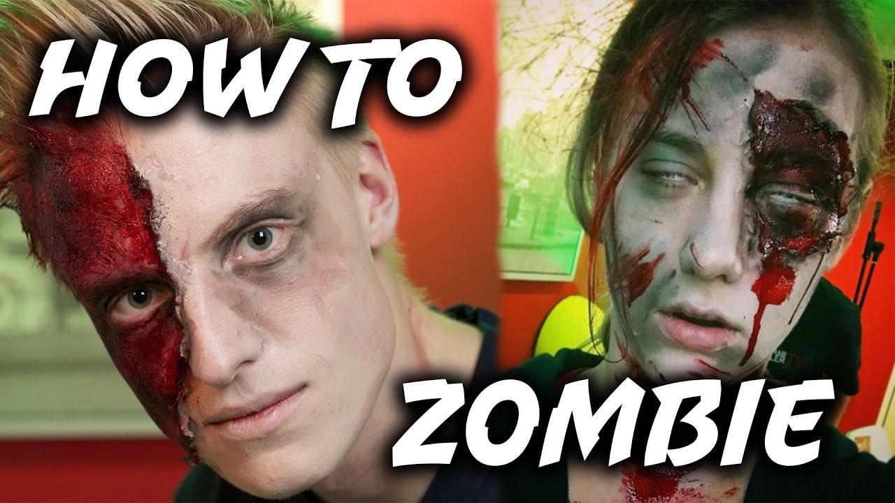 halloween tutorial how to zombie diy gruselig schminken youtube. Black Bedroom Furniture Sets. Home Design Ideas