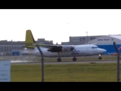 Air Baltic Fokker 50 (F27 Mark 050) Landing in Tallinn