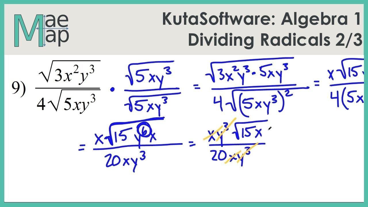 KutaSoftware: Algebra 1- Dividing Radicals Part 2