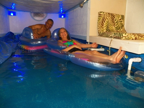 Superb Indoor Swimming Pool DIY From Crawl Space To Simulate Ocean Beach 2 Of 2