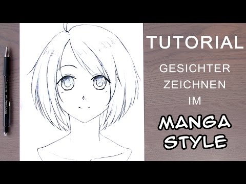 [Tutorial] Manga-Gesicht zeichnen für Anfänger │ weiblich / frontal (EN subs!)