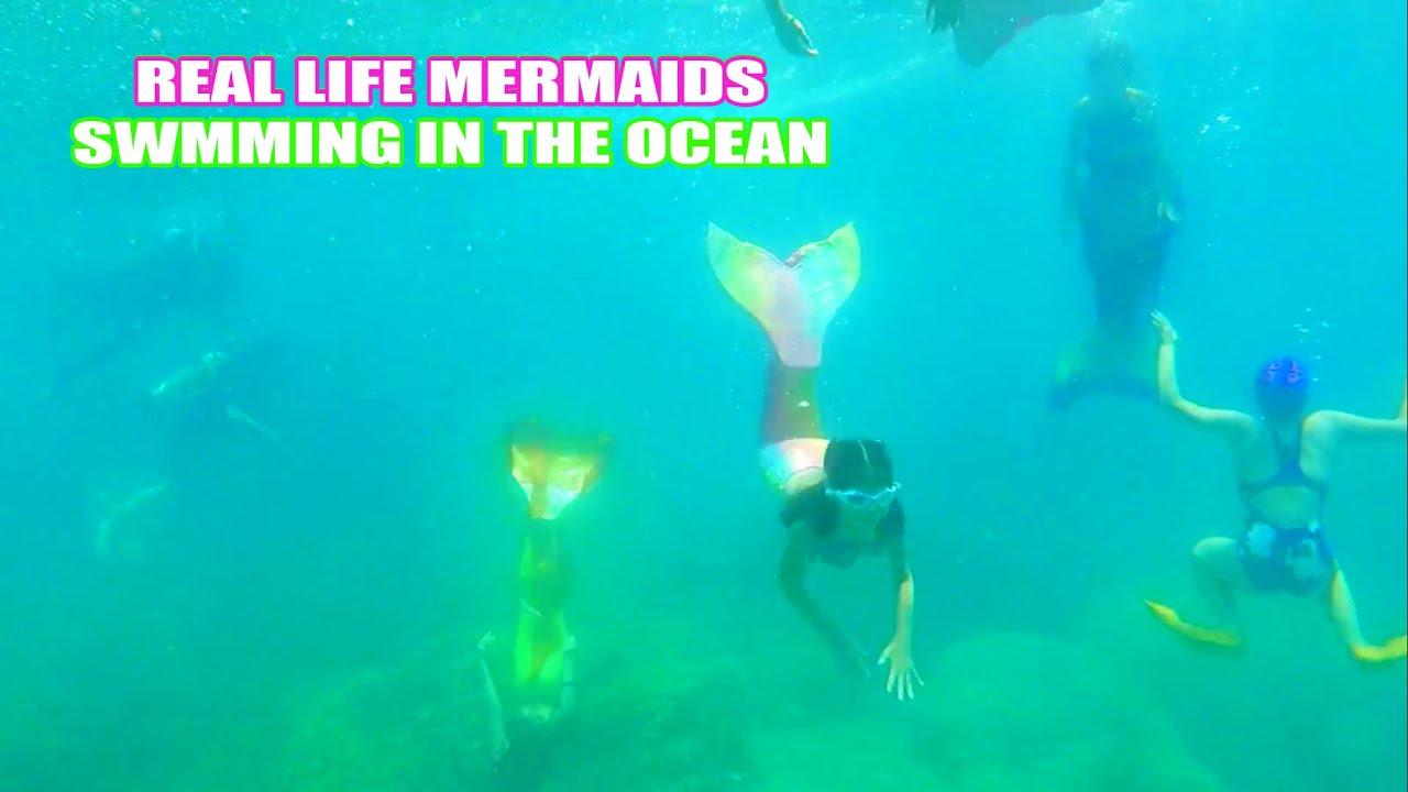 Real Life Mermaid Kids Swimming In The Ocean