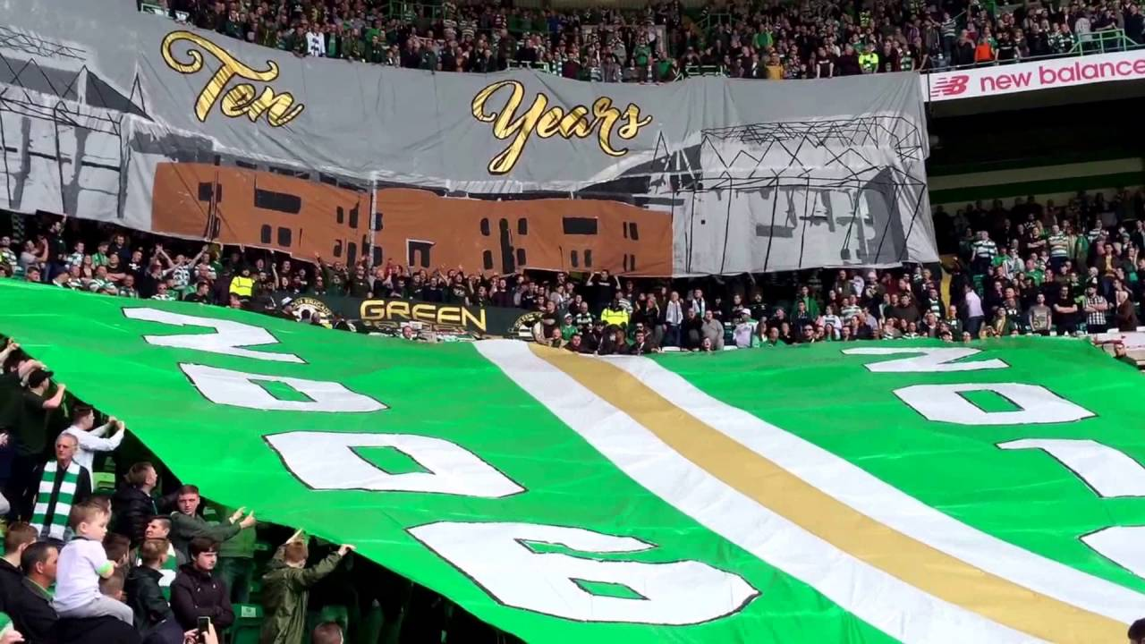 Celtic fans green brigade 10 years anniversary youtube