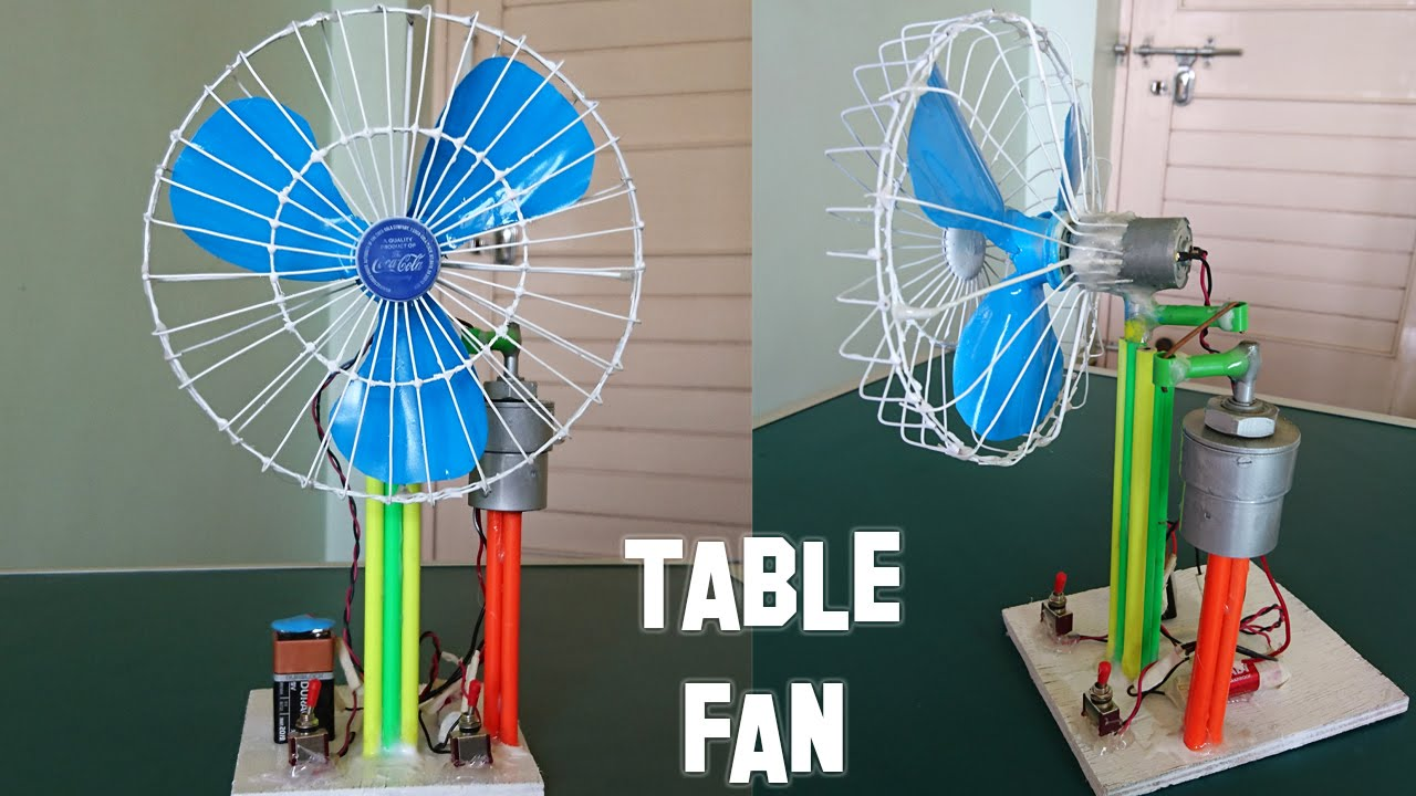 How to make a revolving table fan at home best out of for Model best out of waste