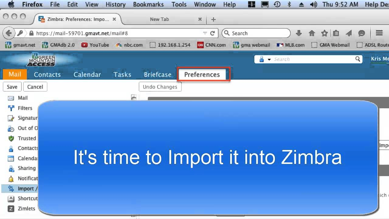 Importing Contacts into Zimbra from Macintosh Address book