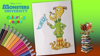 Monsters University coloring book. Terri and Terry Perry coloring page. How to Draw Monsters.