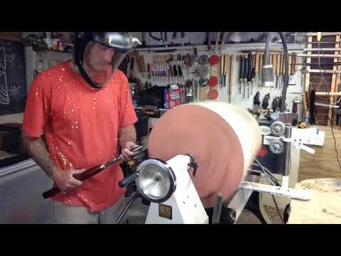 Woodturning large maple open form vessel