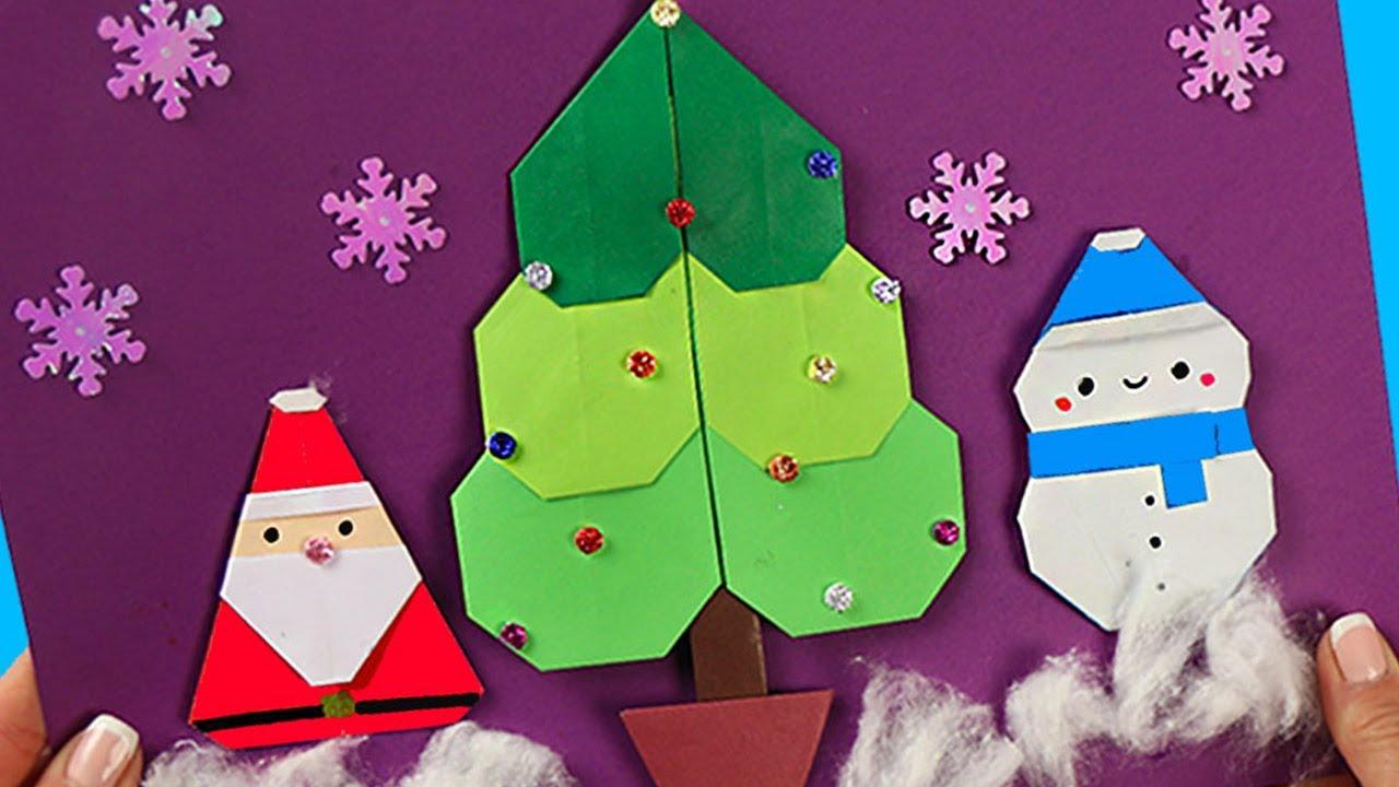 3 идеи Новогодние поделки для детей Оригами из бумаги
