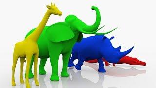 Учим цвета с животными - ЦВЕТНЫЕ СЛОНЫ ЖИРАФЫ НОСОРОГИ - Развивающие мультики для детей