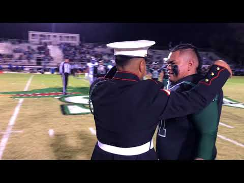 Marine Surprise Little Brother at football game