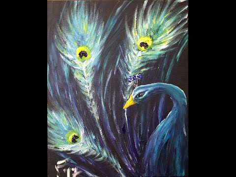 Peacock Finger Painting Step by Step Acrylic Painting on Canvas for Beginners