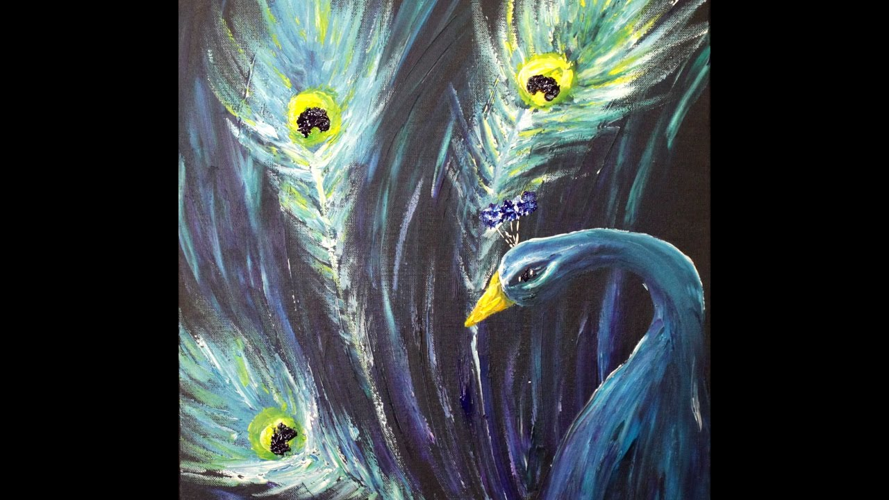 peacock finger painting step by step acrylic painting on canvas