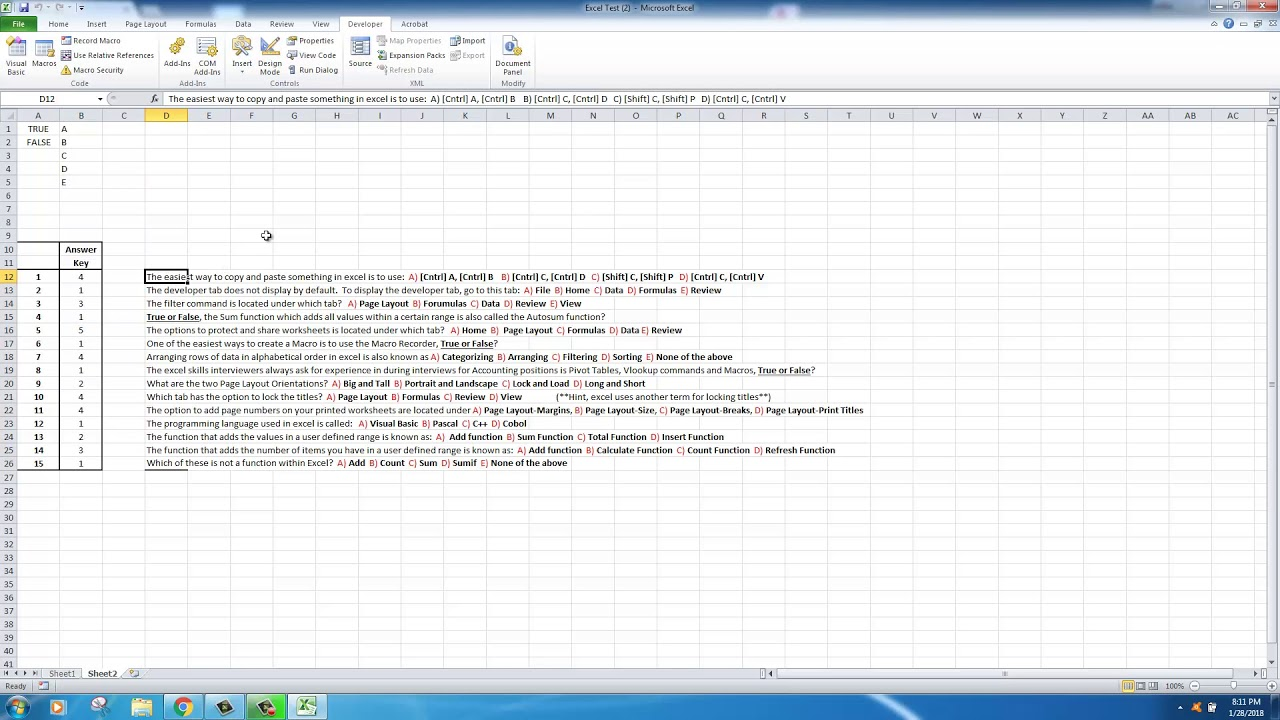 excel  how to create a true or false or multiple choice test in excel