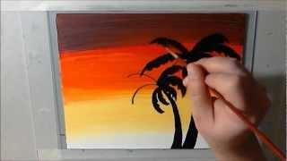 Hawaiian Art Projects - Acrylic Palm Tree Sunset