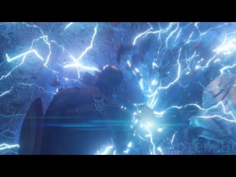 Тони, Тор и Кэп против Таноса. Кэп поднимает молот Тора   Мстители: Финал   Full HD