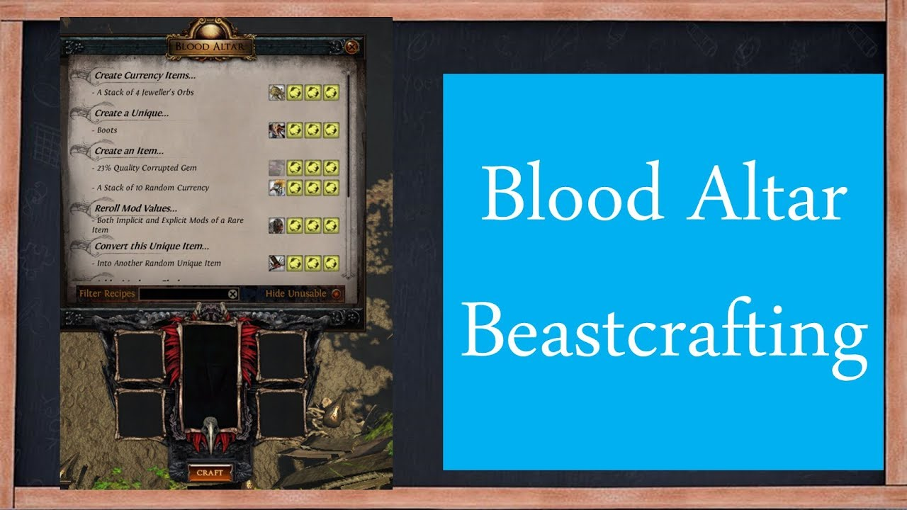 PoE Blood Altar Beastcrafting & Recipes Guide
