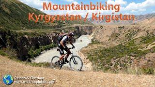 Auf wunderbaren mountainbike-routen durch die faszinierende republik kirgistan (auch kirgisistan) in zentralasien. wilde schluchten mit reissenden flüssen, w...
