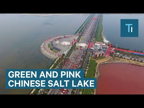 An ancient salt lake in China has turned pink and green