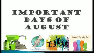 All IMPORTANT DAYS OF AUGUST | RRB PO, RRB Clerk, IBPS PO, IBPS Clerk, SSC, LIC, Railway