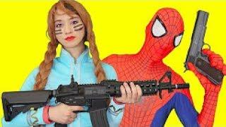 Superheroes War Nerf Gun Spiderman! Frozen Elsa Joker Venom Fun Funny Movie Compliation #8