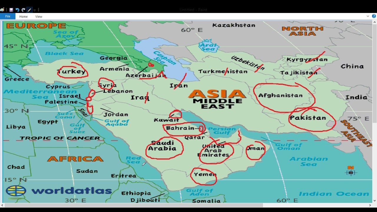 Geography Map Of Asia.Middle East Asia Geography Map म प पर समझ Youtube