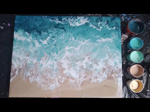 #12 DIY Beach acrylic pour painting |fluid art easy for beginners|