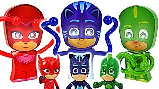 PJ Masks torch and night light transform! Defeat giant minions with Robocar Poli! #DuDuPopTOY