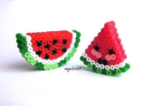 SANDÍAS 3D KAWAII de hama beads (perler beads) | Watermelons