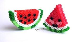 Manualidades: SANDÍAS 3D Kawaii de perler beads (hama beads) | Watermelons