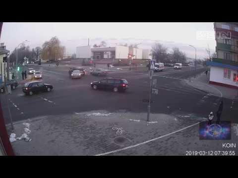 Кобрин. Дзержинского - Пушкина. ДТП, 12.03.2019