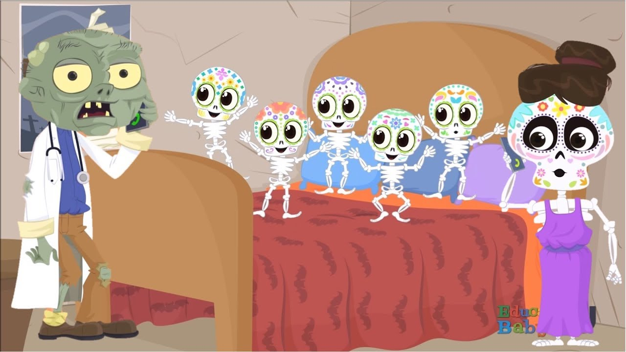 5 Esqueletos Saltando En La Cama Canciones Infantiles De Halloween Youtube