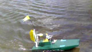 "Home Built R/c Air Boat From Crashed Wild Hawk Parts.  Music: ""fancy Nancy"""